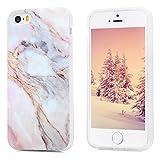 Kasos iPhone 5S Marmor Hülle, Marble Handyhülle : Silikon Case Weich TPU Huelle mit IMD Technologie für iPhone SE J