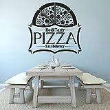 Leckere Pizza Wandtattoo Pizzeria Shop Logo Fensteraufkleber Schnelle Lieferung Pizza Logo Wandkunst Poster Pizza Food Wandbild A10 57x55