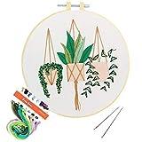 Stickset für Anfänger, Kreuzstich Kits mit Blumen Muster für Erwachsene, Basteln, Stickrahmen, Floss...