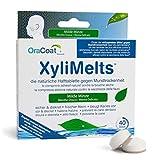 OraCoat XyliMelts - 40 Haft-Tabletten gegen Karies und Mundtrockenheit - Diskret - Im Schlaf verwendbar - VEGAN - Milde Minze