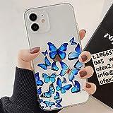 Tybiky Hülle für iPhone 8 Plus, iPhone 7 Plus Hüllen Case Kreatives Schmetterling Muster Luftkissen Schutzhülle Silikon Handyhülle Bumper Chic Kratzfest Cover für iPhone 8 Plus/7 Plus, Viele Blau