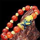 Gymqian Rote Achat Karnolianer Reichtum Armband Ändern Farbe Pixiu/Piyao Feng Shui Amulett Armband Wohlstand Anziehen Glückliches Geld Geschenk Bangle Für Frauen/Mädchen Mode