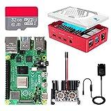 Raspberry Pi 4 8GB, Raspberry Pi 4 Model B 8GB Ultimatives Kit mit 32GB Micro SD-Karte, 5V 3, 0A USB-C EIN/Aus-Schaltnetzteil, Kühlkörper und Micro HDMI-Kabel, Premium Gehäuse