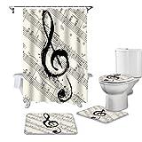YCDtop Musik, Notizen, Noten Duschvorhang Toilettensitzbezug Set WC Zubehör Matte Badezimmer Dekor Badvorhänge 180x180cm (71x71in)