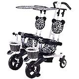 BrightFootBook Tricycle Dreirad Kinderdreirad, bis 50 Kg, Zwei Kinder, mit Lenkbarer Schubstange, Flüsterleise Gummireifen und Sonnendach, 1-4 Jahre Geeignet