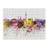 artboxONE Ravensburger-Puzzle L (500 Teile) Städte / Stuttgart Stuttgart Skyline in Watercolor - Puzzle Stuttgart