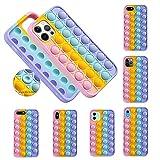 Push Pop Bubble Fidget Sensory Hülle für iPhone, Bubble Popper Angst Relief Autismus Cover, Silikon Fidget Toy Case für iPhone 11 12 Pro Max X XR 6 7 8 Plus (Multicolor A, iPhone 12/12Pro)