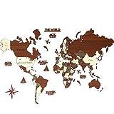 3D-Weltkarte aus Holz, Wandkarte, Einweihungsgeschenk, Weltkarte, Wandkunst-Dekor, Reisekarte, Geburtstagsgeschenk (M Standard – 99,1 x 61 cm)