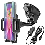 Mobilefox KFZ SET 360° Universal Handy Halterung Auto Halter für die Windschutzscheibe mit Micro USB Ladekabel kompatibel mit Samsung Galaxy S7 S6 S5 S4 S3 S2 Edge Plus Mini Active Note J7 J5 J3 J1 A9 A8 A7 A5 A3
