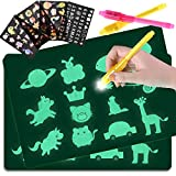 GOLDGE Zaubertafel mit Licht, 2 Stück leuchtende Tafel für Kinder, 4 Schablonen und 2 Stifte, Lernspielzeug für Geburtstag und Weihnachten Geschenke