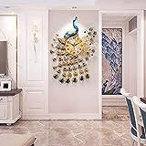 Pfau Wanduhr/Home Quarzuhr, Strass Pfau dekorative Uhr, geeignet für Wohnzimmer, Esszimmer, Eingang (85 × 58cm)
