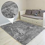 Amazinggirl Hochflor Teppich wohnzimmerteppich Langflor - Teppiche für Wohnzimmer flauschig Shaggy Schlafzimmer Bettvorleger Outdoor Carpet (120 x 160 cm, Grau)