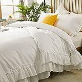 Rüschen-Bettbezug-Set, seidenähnliches Satin-Bettwäsche, 1 Bettbezug und 2 seidige Satin-Kissenbezüge, luxuriös, weich, leicht, gebürstete Mikrofaser, King Size, Weiß