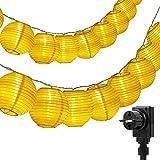 Eqosun® Lampion Lichterkette 30 LEDs mit Netzstecker (Strom) + 4 Meter Zuleitung warmweiß für Innen und Außen Dek