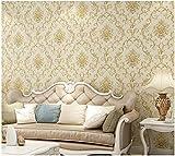 Modern Einfachheit Vliestapete 3D 9,5m x 0,53m Luxuriöses Relief Damaskus Hell beige Tapete für Schlafzimmer Wohnzimmer oder Küche TV-Hintergrund