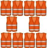 10 Warnwesten Sicherheitsweste ORANGE - Atmungsaktiv - 360 Grad Reflektierende Schutz W