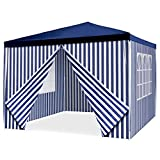 Nexos GM36096_AZ Pavillon Partyzelt 3x3m blau weiß wasserdicht + 4 Seitenteile Gartenzelt Marktzelt Festzelt für Garten Terrasse Feier Markt als Unterstand Eventzelt