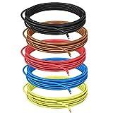 DCSk 1,5mm² - 10m - Fahrzeugleitung FLRY B asymmetrisch Set 5 Farben - 1,50 mm² - KFZ-Kabel-Litze -rot schwarz blau braun gelb - 10 m Ring