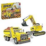 Fujinfeng Technik Fahrzeugmodell Bausteine Spielzeug, 605Pcs Bagger Transportfahrzeug Klemmbausteine kompatibel mit Lego