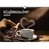Kaffeezauber DIN A3 Kalender für 2022 Kaffee - Geschenkset Inhalt: 1x Kalender, 1x Weihnachts- und 1x Grußkarte (insgesamt 3 Teile)