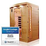 Dewello Infrarotkabine PIERSON 135x105 DUAL-THERM für 1-2 Personen aus Hemlock Holz mit Vollspek