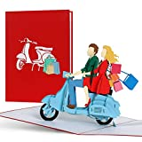 Gutschein Shopping für Frauen, Shopping Tour Geschenkgutschein, Geschenkideen für Sie, beste Freundin, Geburtstagskarte, 3d Pop Up Karte Vespa, H18