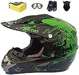 Motorradhelm,Motocross Helm,Helm Kinder,Helmets Kinder-Cross-Helm, Road Helm mit Handschuhe Maske Brille, ATV Helm,MTB green,52-56 cm