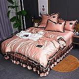 Bedding-LZ bettwäsche Baumwolle 200x200,Frühjahr und Sommer Wasserwaschsimulation Seide vierteilige Bett Rock Spitze EIS Seide Doppeldecke-B_2,0 m (4 Stück)