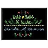 PR Print Royal Fußmatte mit Spruch - Lebt Liebt Lacht - Willkommen - Selbst Gestalten mit Wunschnamen - Gelbes Herz 120 x 80 cm