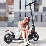 Hesyovy Leicht Scooter T-Style Stabile, aus Aluminiumlegierung, Klappbar und Höhenverstellbar, Big Wheel 195mm Räder Cityroller für Erwachsene (Handbremse-Schwarz)
