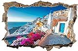 DesFoli Griechenland Santorino Insel Stadt Wandtattoo Wandsticker Wandaufkleber D2573 Größe 100 cm x 150