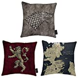 3er Set Game of Thrones Kissen Westeros Karte Lannister Haus Stark 38 x 38 cm Kissen Bedruckt Plüsch Kissen mit Kissen inklusive offizielle Geschenkidee für F
