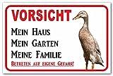 AdriLeo Schild - Vorsicht Indische Laufente - Mein Haus - (30x40cm) / Achtung Ente