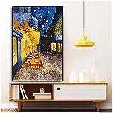Berühmte Van Gogh Cafe Terrasse bei Nacht Ölgemälde Reproduktionen auf Leinwand Poster und Drucke Wandkunst Bild für Wohnzimmer 60x90cm (24x36in) Kein R