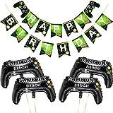 5 Stück Videospiel-Banner, Videospiel Party Luftballons Spiel auf Luftballons, Videospiel-Controller, Aluminiumfolien-Ballon und Happy Birthday Banner für Geburtstagsparty und Spiel-Party-Dekoration