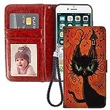 Schutzhülle für iPhone 6 Plus 6S Plus (5,5 Zoll) Halloween Katze mit Kartenhalter