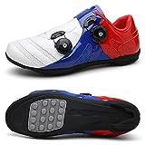 Rennrad-Fahrradschuhe Für Herren Damen, Ultraleichte Outdoor-Boost-Fahrradschuhe, Bequeme Atmungsaktive Rotierende Reitschuhe (Weiß Blau Rot)