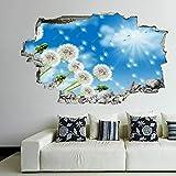 3D Wandtattoo Mauerloch Wandsticker Wandaufkleber Durchbruch selbstklebend Schlafzimmer Wohnzimmer Kinderzimmer,Löwenzahn Blumen 50x75cm