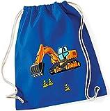 Turnbeutel für Jungen | Motiv Bagger & Baustelle | Stoffbeutel aus Baumwolle zum Zuziehen für Kinder | Zuziehrucksack mit Kordel (royalblau)