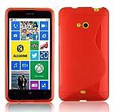 Cadorabo Hülle für Nokia Lumia 625 in Inferno ROT – Handyhülle aus flexiblem TPU Silikon – Silikonhülle Schutzhülle Ultra Slim Soft Back Cover Case Bumper