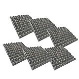 Tonsee 6 Akkustik Platten Akustikschaumstoff Fliesen Dämmung Wanddeko Pyramiden Noppenschaumstoff Breitbandabsorber Decke Foam Feuerhemmend 30x30x2.5cm Blau Schwarz Rot (Grau)