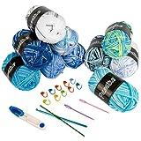 Wolle Zum Häkeln - 10er Pack Wolle Zum Stricken, Bunt Acrywolle Häkelgarn Baumwollgarn Kommt mit 15 geflochtenen Zubehörteilen für Doppelt Stricken Häkeln und Kunsthandwerk - 10 Farben(je 50g)