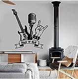 Wandaufkleber Rock'N' Roll Wandtattoo Musik Rock Gitarre Mikrofon Bar Musikzimmer Innendekoration Vinyl Wandaufkleber Wandbild Kunst Cool 57X62Cm