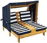 KidKraft 00524 Doppelte Sonnenliege mit Getränkehaltern Doppelliege, Chaiselongue aus Holz, Honigfarb