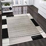 VIMODA Teppich Kariert Retro Muster Meliert in Grau, Weiß und Schwarz Schlafzimmer Wohnzimmer - ÖKO TEX Zertifiziert, Maße:200x290 cm