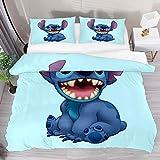 Bettbezug, Doppelbett, Lilo Stitch, 3-teiliges Bettwäsche-Set, Steppdecke, 1 Kissenbezug, 1 Bettbezug