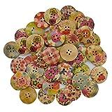 Gemischte Holzknöpfe in Großpackung zum Basteln, rund, dekorativ, bunt, für DIY-Nähprojekte (25 mm)