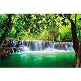 GREAT ART® XXL Poster – Wasserfall Feng Shui – Wandbild Dekoration Natur Dschungel Landschaft Paradies Urlaub Thailand Asien Wellness Spa Relax Wandposter Fotoposter Wanddeko (140 x 100 cm)