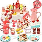 DigHealth 83 Stück Geburtstagstorte Spielzeug Lebensmittel mit Kerzen, Obst, Eiscreme, Kekse, Süßigkeiten und Schokolade für Kinder ab 3 Jahren