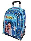 Me contro Te Schule Trolley Rucksack blau mit Lichtern + gratis Schlüsselanhänger Pfeife + Armband Engel blau + 10 Glitterstifte